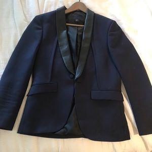 Pleather Collar / Navy Jacket